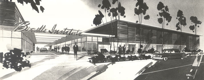 Original concept drawing of Braille Institute, looking like a fifties Las Vegas casino.