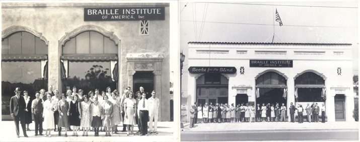 Vintage black and white photos of the original location of Braille Institute.