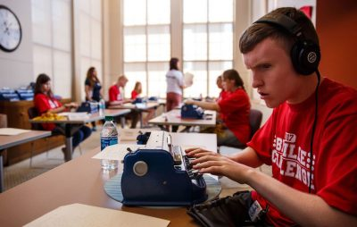 Mitchell Bridewell competes in the varsity category of the Braille Challenge at USC on June 17. (Marcus Yam / Los Angeles Times)