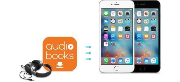 """A headphone, the words """"audio books"""" and two smartphones"""