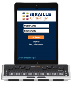 An image from the iBraille Challenge Practice app and a refreshable Braille display