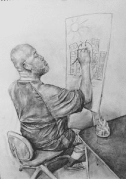 Sketch of man drawing cityscape