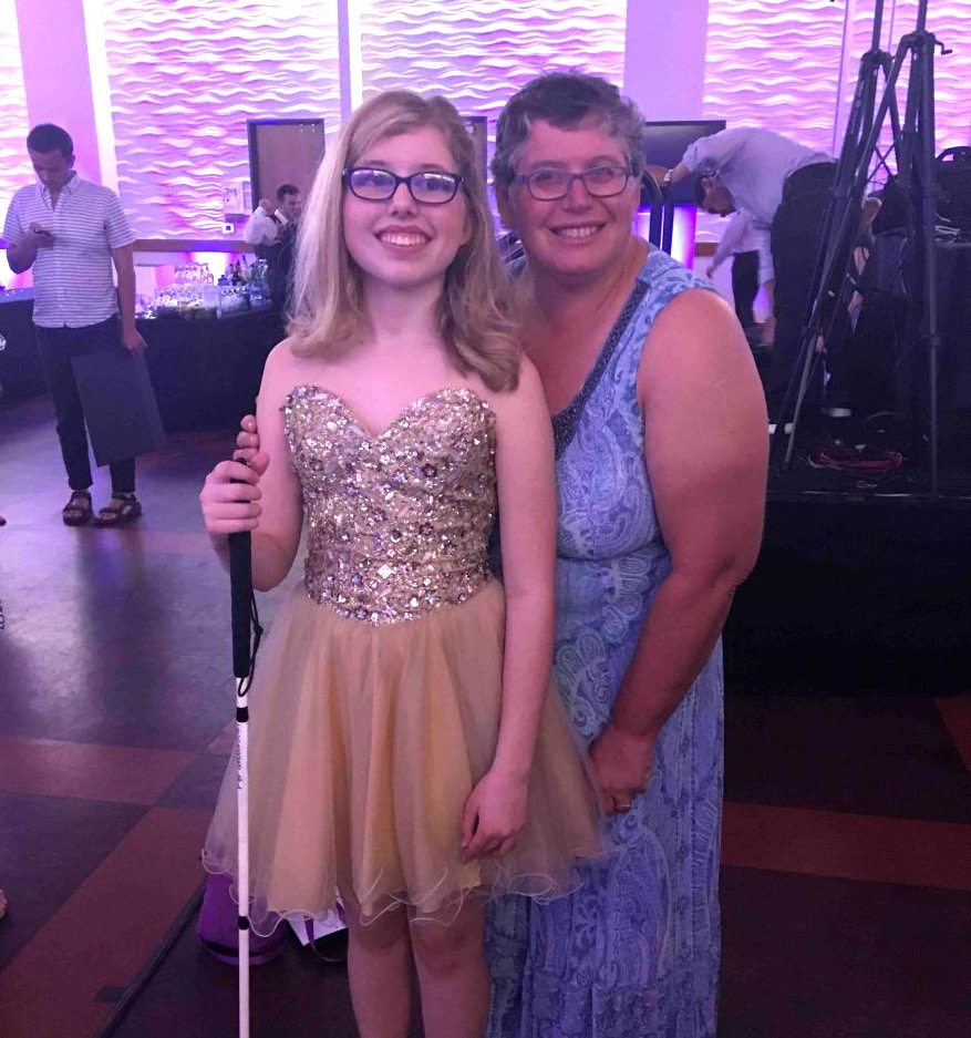 Kaleigh Brendle poses with Penny Rosenblum during the Braille Challenge 2018 Closing Ceremony at USC.