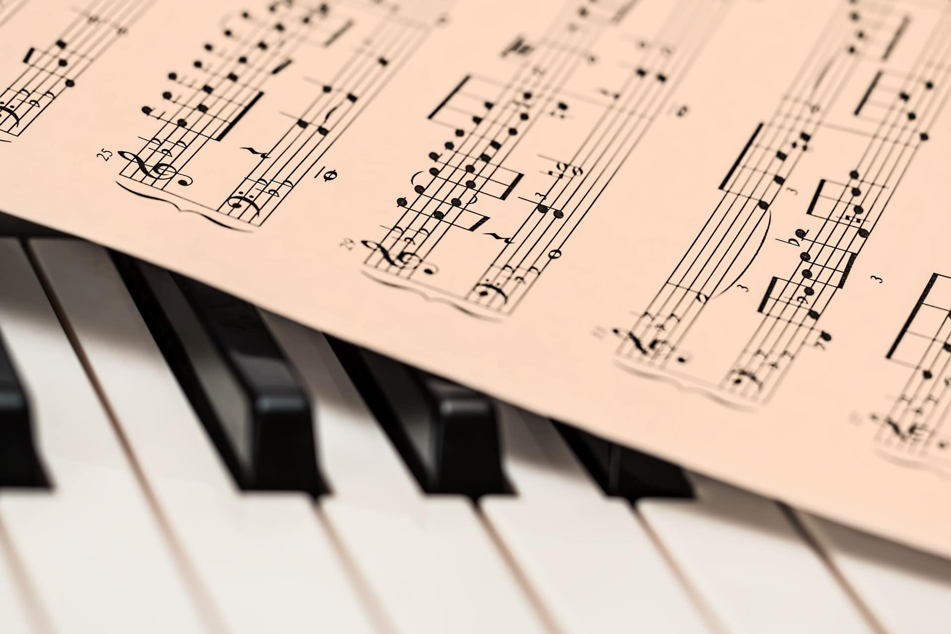 Piano keys partially covered by sheet music