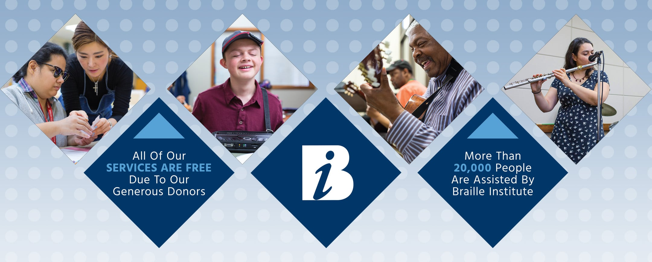 Four images in diamond shapes of Braille Institute students and volunteers, with information about free services.