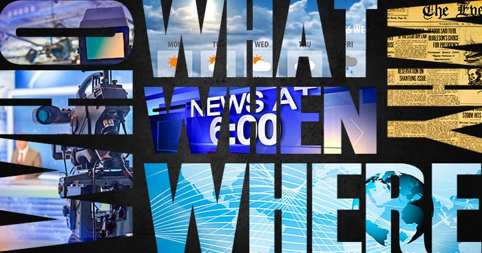 "The words ""Who, What, Why, When, Where"" superimposed over images of newspapers and tv newscasts"
