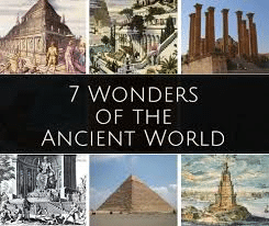 "Postcard image with the text ""7 Wonders of the Ancient World"" and images of 6 of the wonders, including the Great Pyramid"