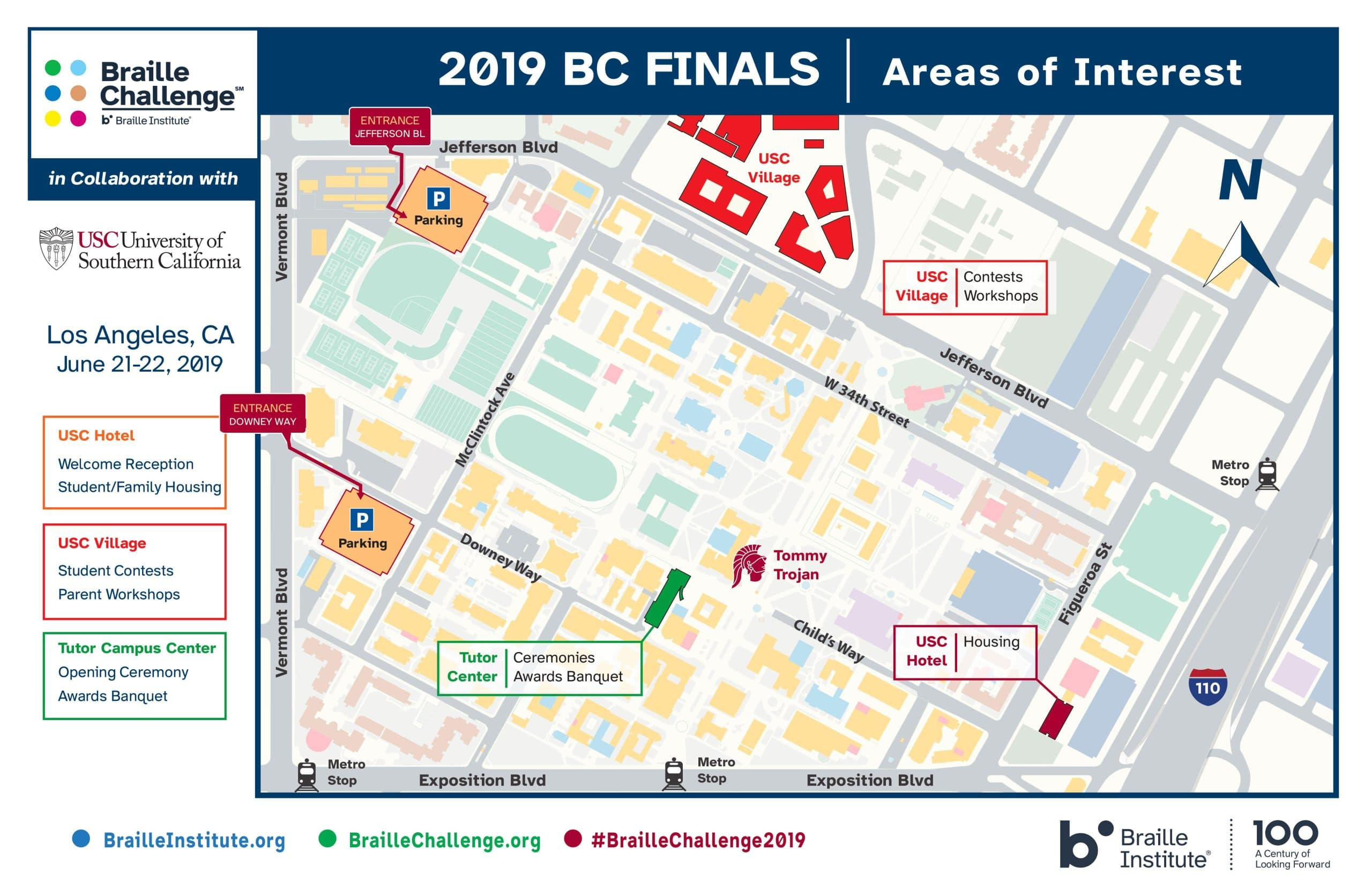 Braille Challenge 2019 Map of USC Campus
