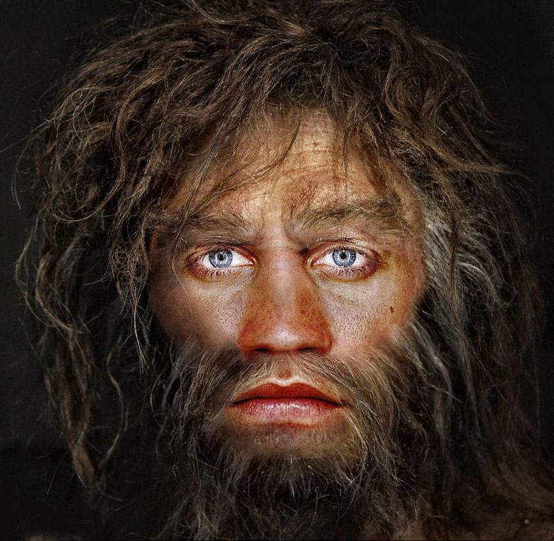 Artist interpretation of a caveman with blue eyes