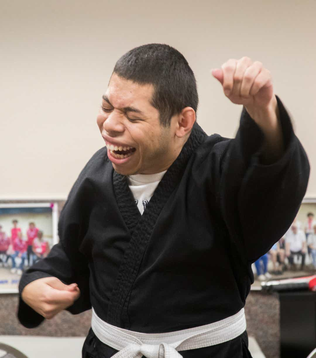 Jonathon Espejo practices Karate during a class at the Braille Institute in Rancho Mirage.