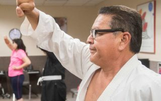 Antonio Delgado practices Karate during a class at the Braille Institute in Rancho Mirage. Antonio Delgado won 3rd place recently during an international competition.