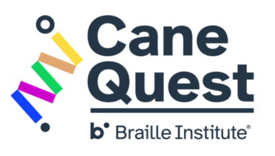 Cane Quest logo folded cane made of five different colors