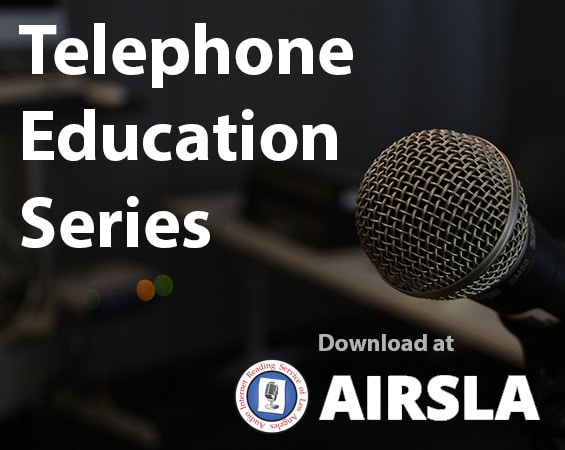 Telephone Education Series hosted at AIRSLA. Words over image of a microphone in sound studio.