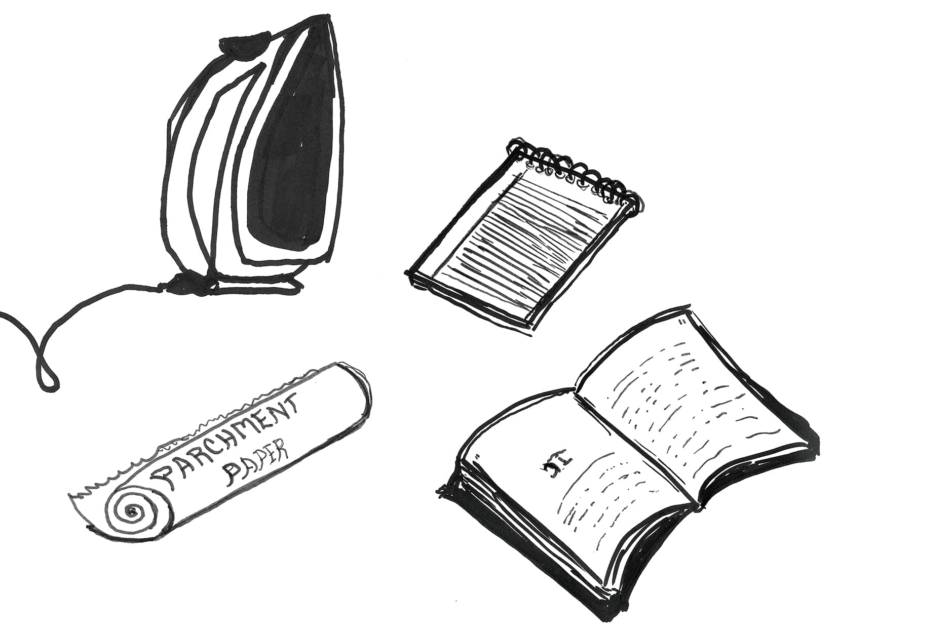 Sketch of an iron, book, notepad and parchment paper.