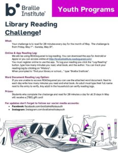 Youth Programs Library Reading Challenge Flyer